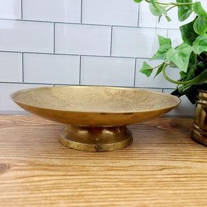 Vintage brass pedestal dish